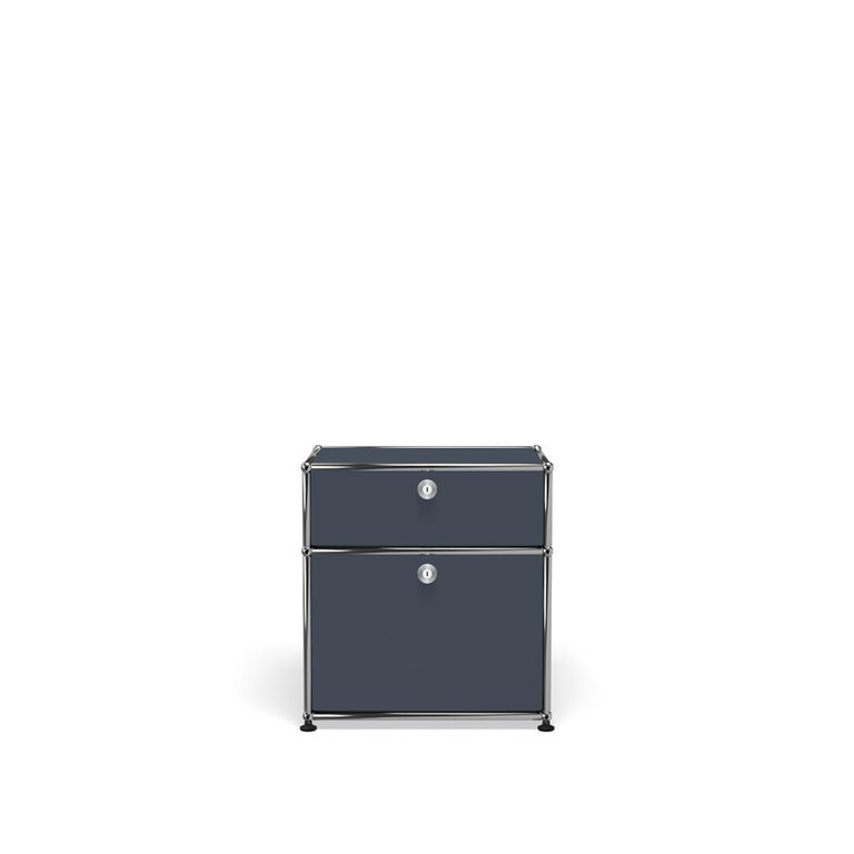 For Sale: Gray (Anthracite) Haller Nightstand P1 Storage System by USM