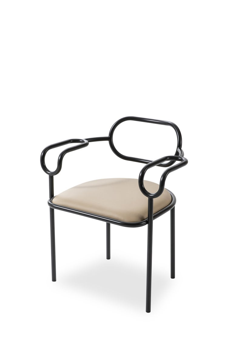 For Sale: Beige (PC_22_Leather 914G) Shiro Kuramata 01 Chair in Polished Chrome or Matte Varnish for Cappellini 2