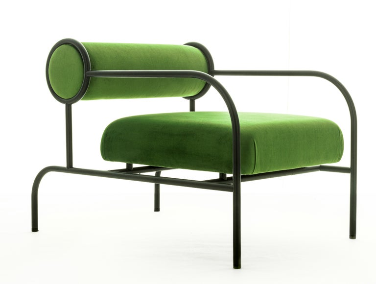 For Sale: Green (PC_17CP19 - green) Shiro Kuramata Velvet Sofa with Arms Black Edition for Cappellini, Exclusive 2