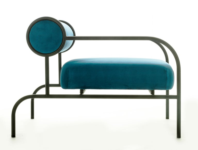 For Sale: Blue (PC_17CP29 - blue) Shiro Kuramata Velvet Sofa with Arms Black Edition for Cappellini, Exclusive