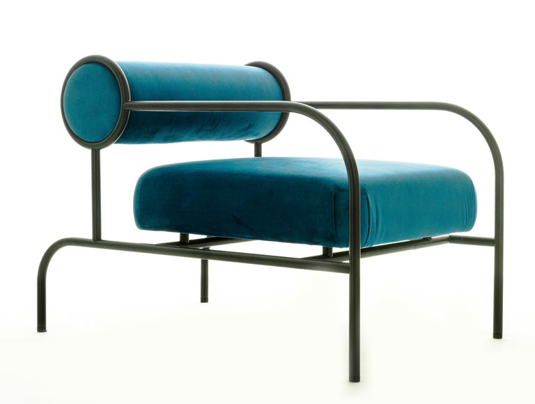 For Sale: Blue (PC_17CP29 - blue) Shiro Kuramata Velvet Sofa with Arms Black Edition for Cappellini, Exclusive 2