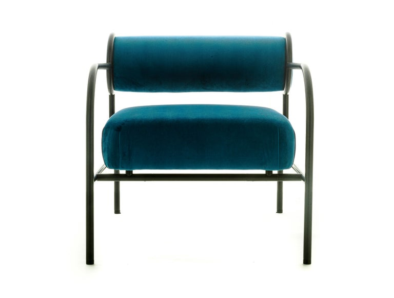 For Sale: Blue (PC_17CP29 - blue) Shiro Kuramata Velvet Sofa with Arms Black Edition for Cappellini, Exclusive 3