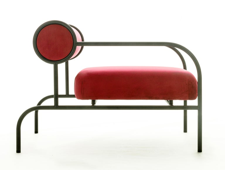For Sale: Red (PC_17CP39 - magenta) Shiro Kuramata Velvet Sofa with Arms Black Edition for Cappellini, Exclusive