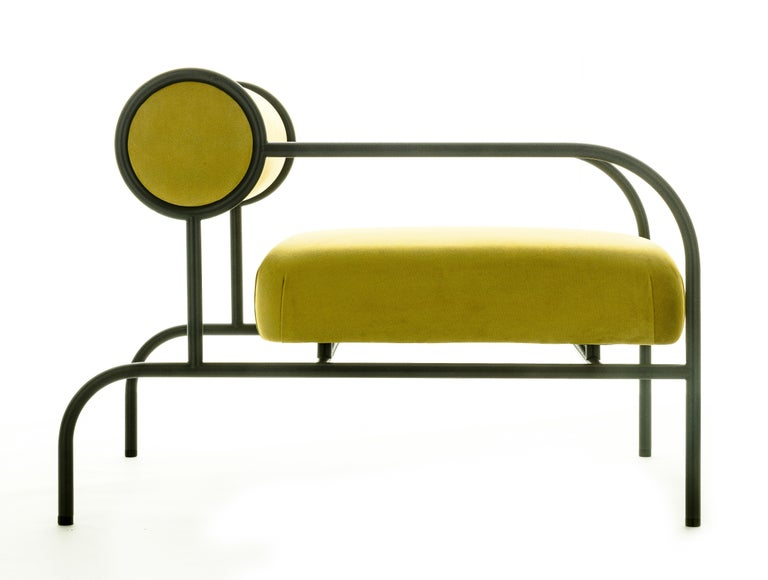 For Sale: Yellow (PC_17CP49 - alchemilla) Shiro Kuramata Velvet Sofa with Arms Black Edition for Cappellini, Exclusive