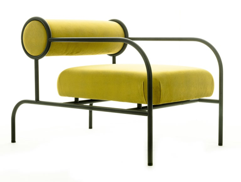 For Sale: Yellow (PC_17CP49 - alchemilla) Shiro Kuramata Velvet Sofa with Arms Black Edition for Cappellini, Exclusive 2