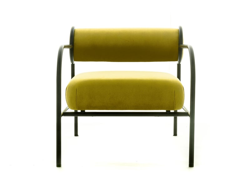 For Sale: Yellow (PC_17CP49 - alchemilla) Shiro Kuramata Velvet Sofa with Arms Black Edition for Cappellini, Exclusive 3