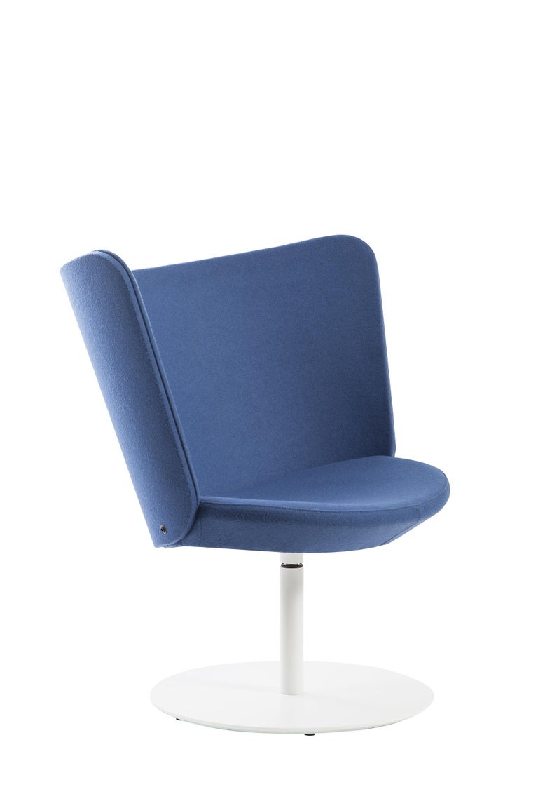For Sale: Blue (Hero - 812) Johan Lindstèn Embroidery Simple Armchair in Fabric or Leather for Cappellini 2