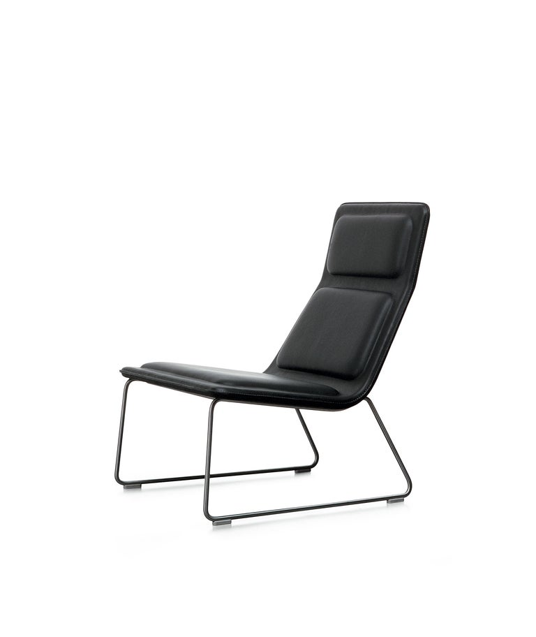 For Sale: Black (Leather 908) Jasper Morrison Low Pad Armchair in Beech with Fabric or Leather for Cappellini