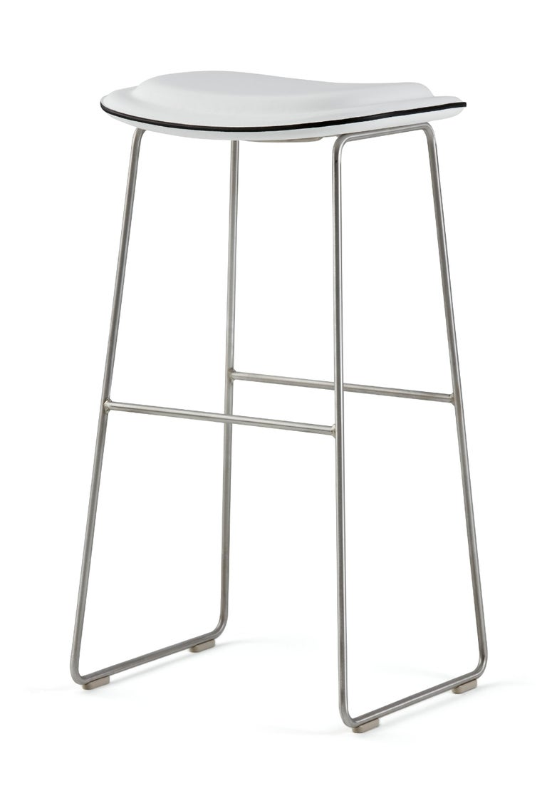 For Sale: White (Leather 900) Jasper Morrison Small Hi Pad Stool in Fabric or Leather Upholstery by Cappellini