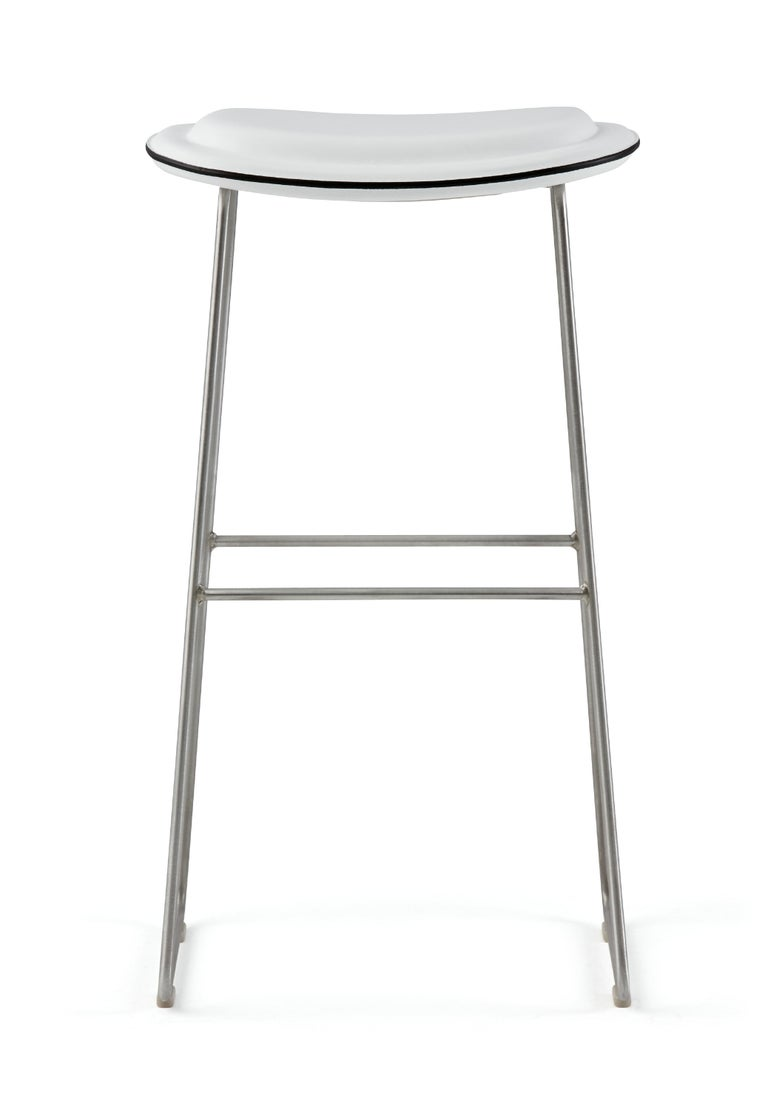 For Sale: White (Leather 900) Jasper Morrison Small Hi Pad Stool in Fabric or Leather Upholstery by Cappellini 2