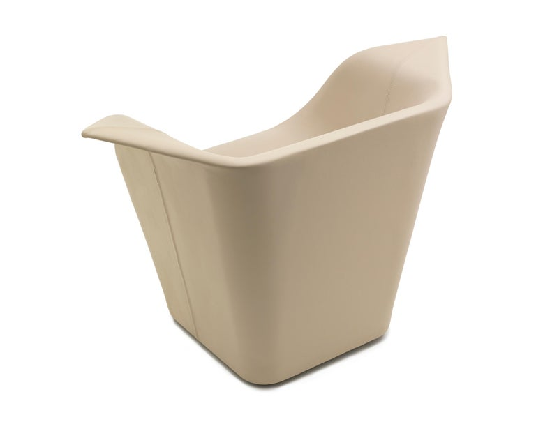 For Sale: Beige (Leather 914) Benjamin Hubert Garment Armchair in Fabric or Leather Upholstery for Cappellini 2