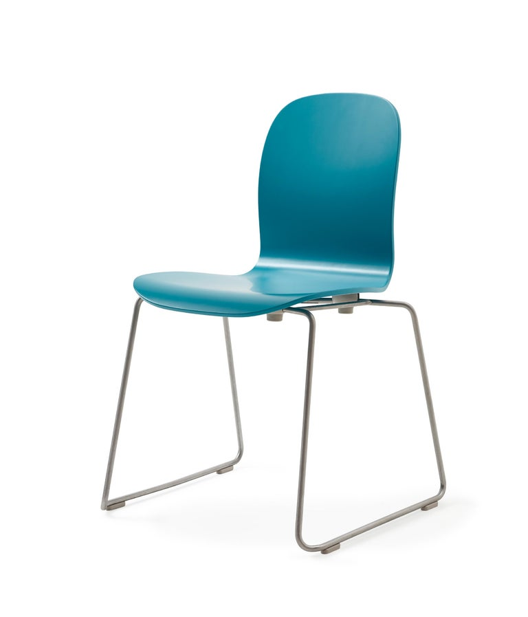 For Sale: Blue (77_PETROL BLUE) Jasper Morrison Tate Chair in Beech Plywood with Matte Lacquer for Cappellini 2