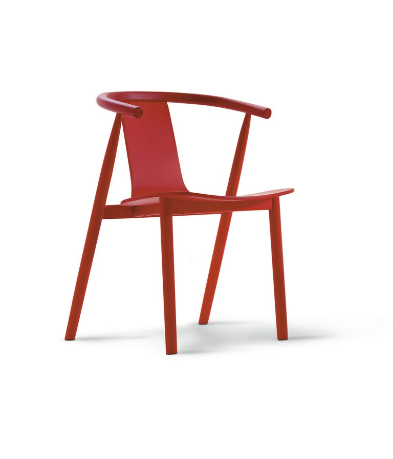 For Sale: Orange (A10 Cherry Red Aniline Ash) Jasper Morrison Bac Stool in Solid Ashwood for Cappellini 2