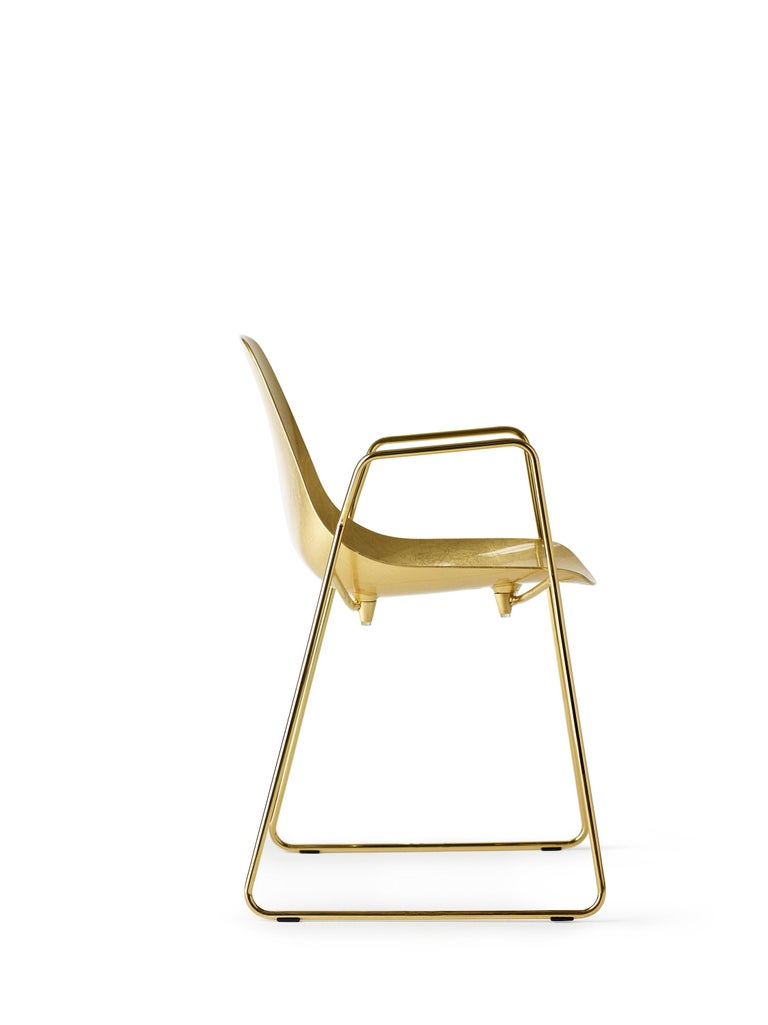 For Sale: Gold (Gold Leaf with Gold Structure) Opinion Ciatti Mammamia Sled Stackable Chair with Armrests Set of 2