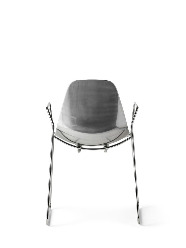 For Sale: Silver (Mirrored Aluminum with Chrome Structure) Opinion Ciatti Mammamia Sled Stackable Chair with Armrests Set of 2