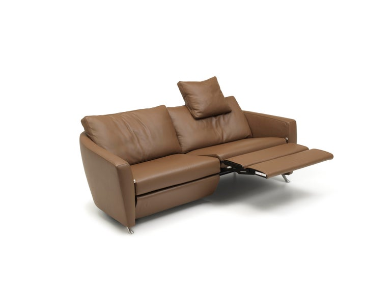 For Sale: Brown (Cashmere) Sesam Adjustable Reclining Leather Sofa by FSM 2