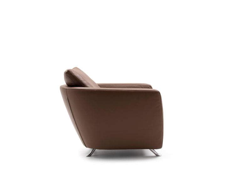 For Sale: Brown (Whisky) Sesam Adjustable Reclining Leather Armchair by FSM 2