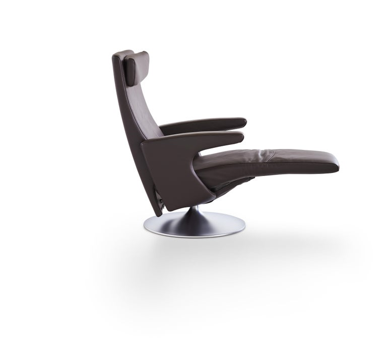For Sale: Gray (Umbra) Smile Adjustable Rotating Leather Armchair by FSM 2