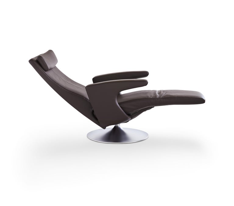 For Sale: Gray (Umbra) Smile Adjustable Rotating Leather Armchair by FSM 4