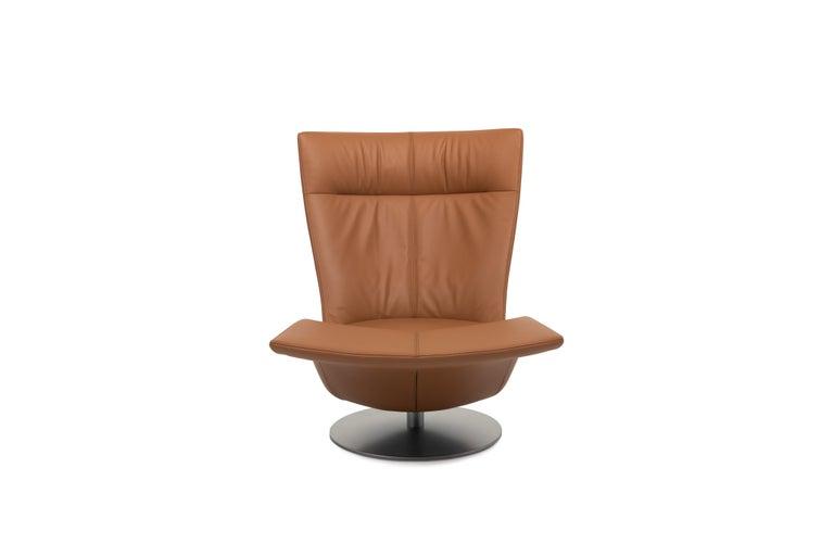 For Sale: Orange (Hazel) Pli Dual Rotation Multi-Functional Leather Armchair by FSM 2