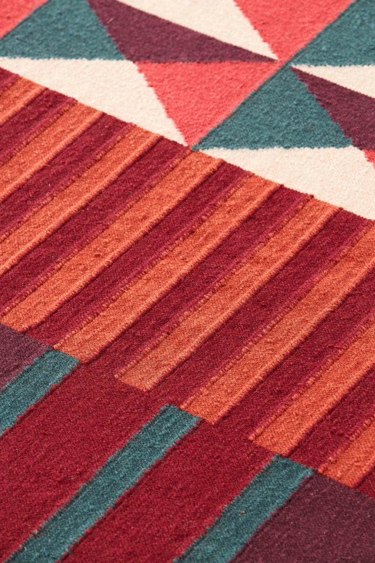 For Sale: Red GAN Kilim Ndebele Large Rug by Sandra Figuerola 2