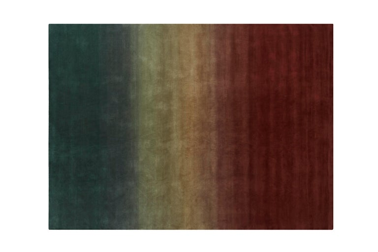 For Sale: Multi (Petrol Wines) GAN Hand Knotted Degrade Medium Rug by Patricia Urquiola