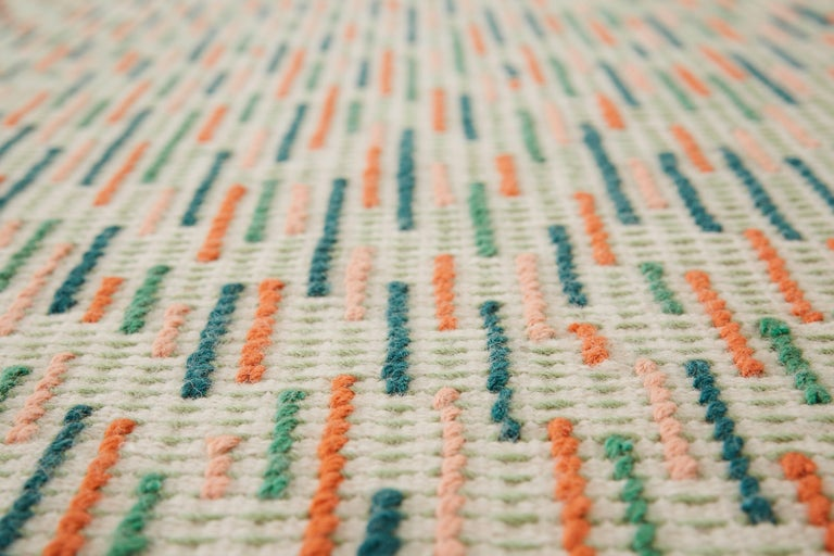 For Sale: Green GAN Handloom Backstitch Busy Small Rug by Raw-Edges 3