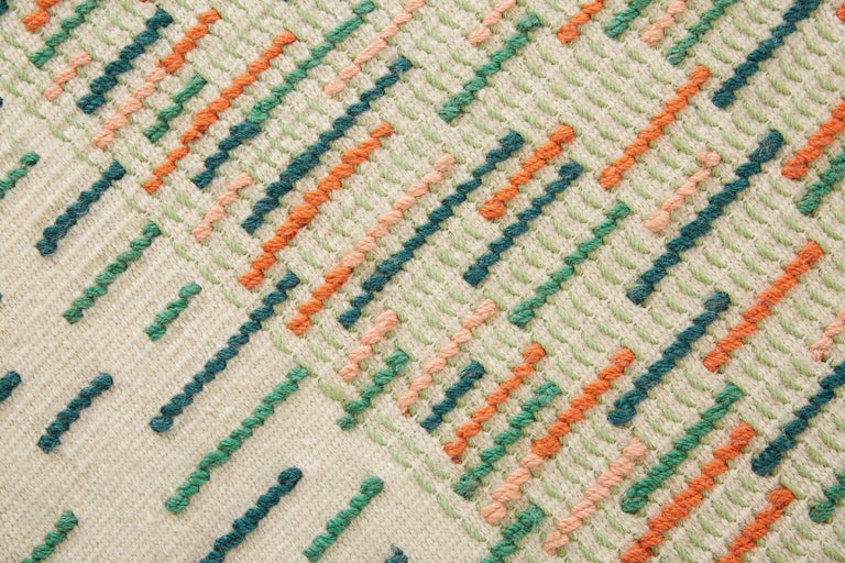 For Sale: Green GAN Handloom Backstitch Busy Small Rug by Raw-Edges 2
