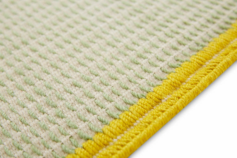 For Sale: Green GAN Handloom Backstitch Busy Small Rug by Raw-Edges 4