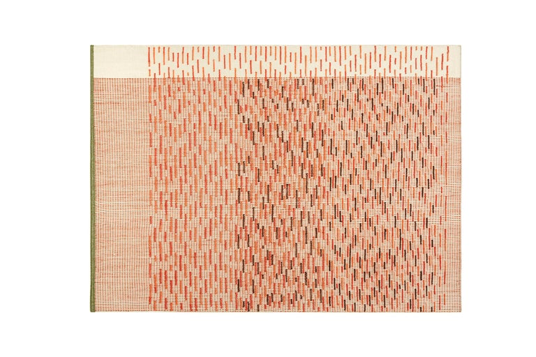 For Sale: Red (Brick) GAN Handloom Backstitch Busy Small Rug by Raw-Edges