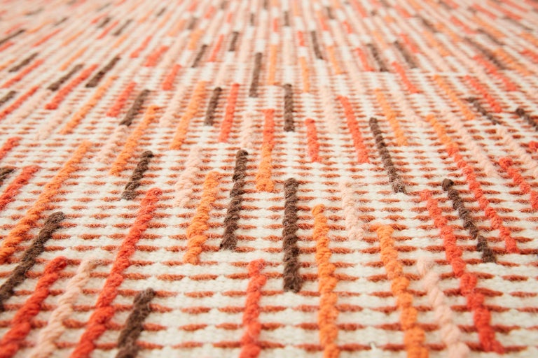 For Sale: Red (Brick) GAN Handloom Backstitch Busy Small Rug by Raw-Edges 3