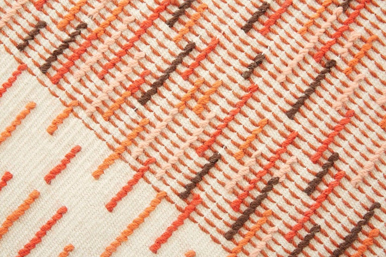 For Sale: Red (Brick) GAN Handloom Backstitch Busy Small Rug by Raw-Edges 2