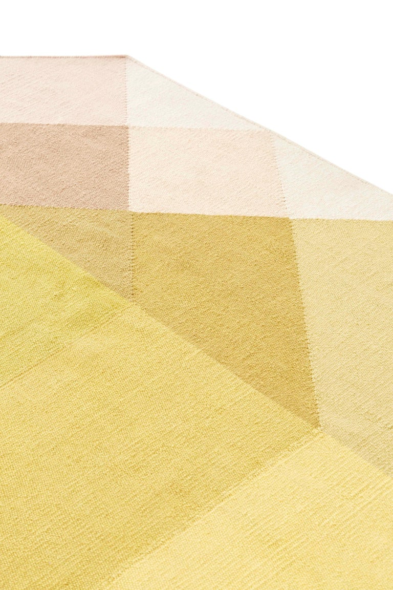 For Sale: Multi (Pink Yellow) GAN Kilim Diamond Large Rug by Charlotte Lancelot 2