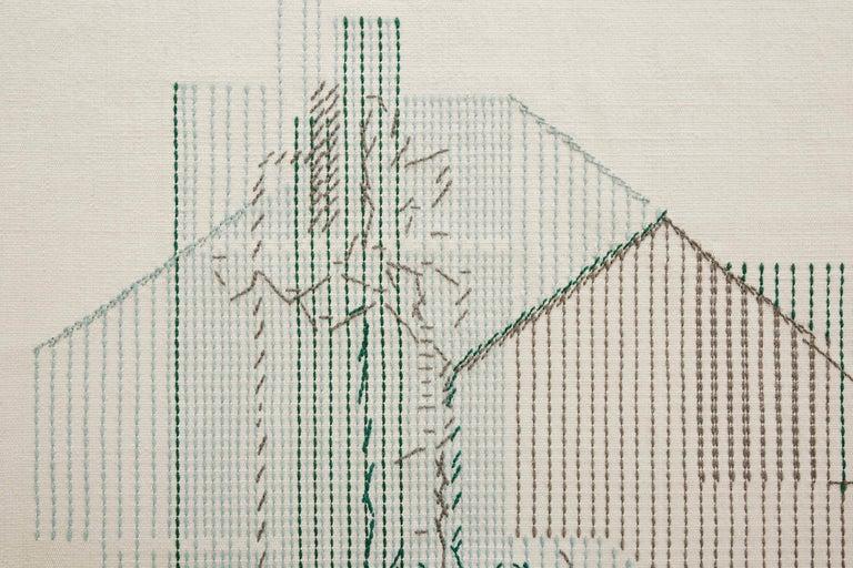 For Sale: Green GAN Handloom Backstitch Composition Large Rug by Raw-Edges 2