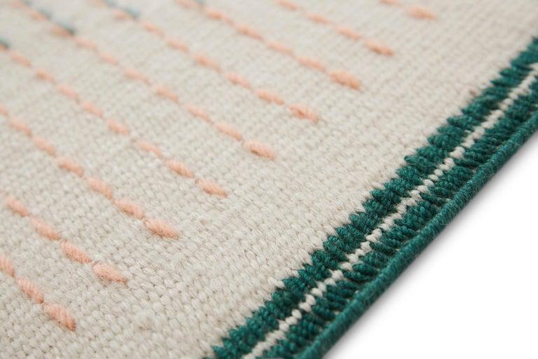 For Sale: Green GAN Handloom Backstitch Composition Large Rug by Raw-Edges 4