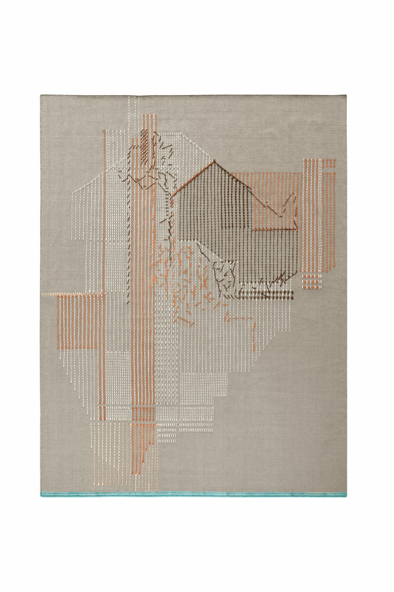 For Sale: Red (Brick) GAN Handloom Backstitch Composition Large Rug by Raw-Edges