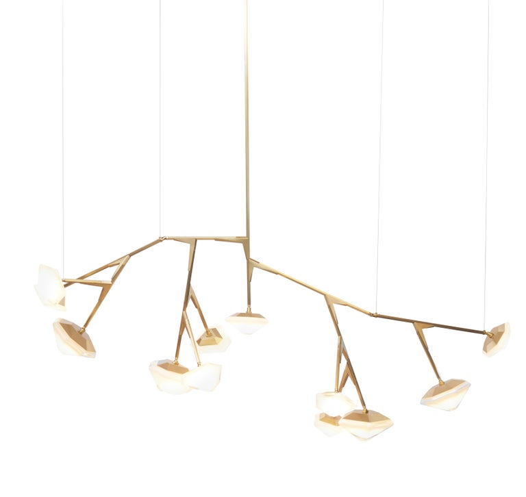 For Sale: Gold (Satin Brass) X-Long 13 Myriad Chandelier in Albaster White Glass by Gabriel Scott