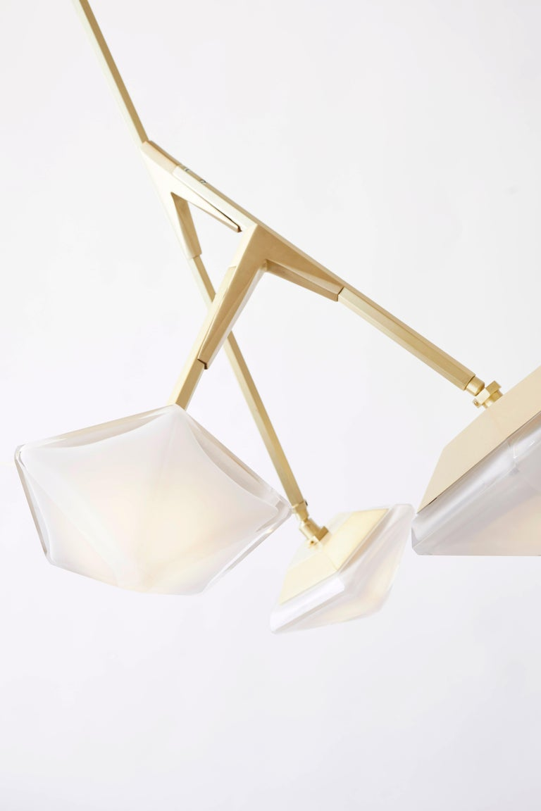 For Sale: Gold (Satin Brass) X-Long 13 Myriad Chandelier in Albaster White Glass by Gabriel Scott 2