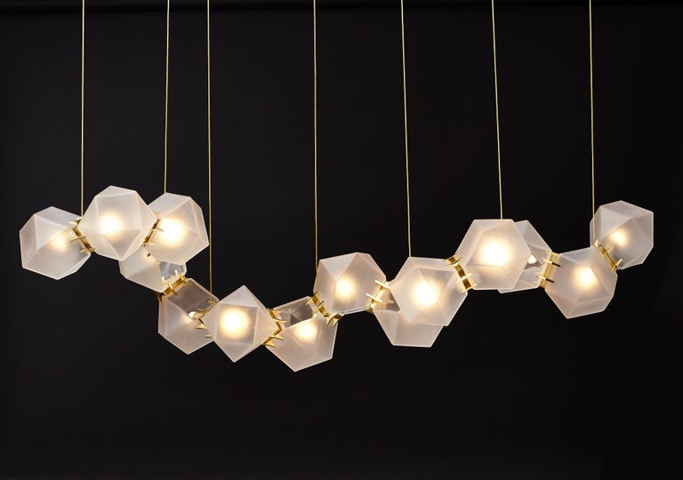 For Sale: Gold (Satin Brass) Welles Glass Long Chandelier in Alabaster White Glass by Gabriel Scott 2