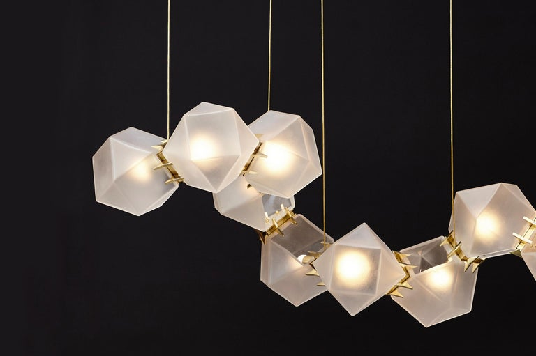 For Sale: Gold (Satin Brass) Welles Glass Long Chandelier in Alabaster White Glass by Gabriel Scott 3