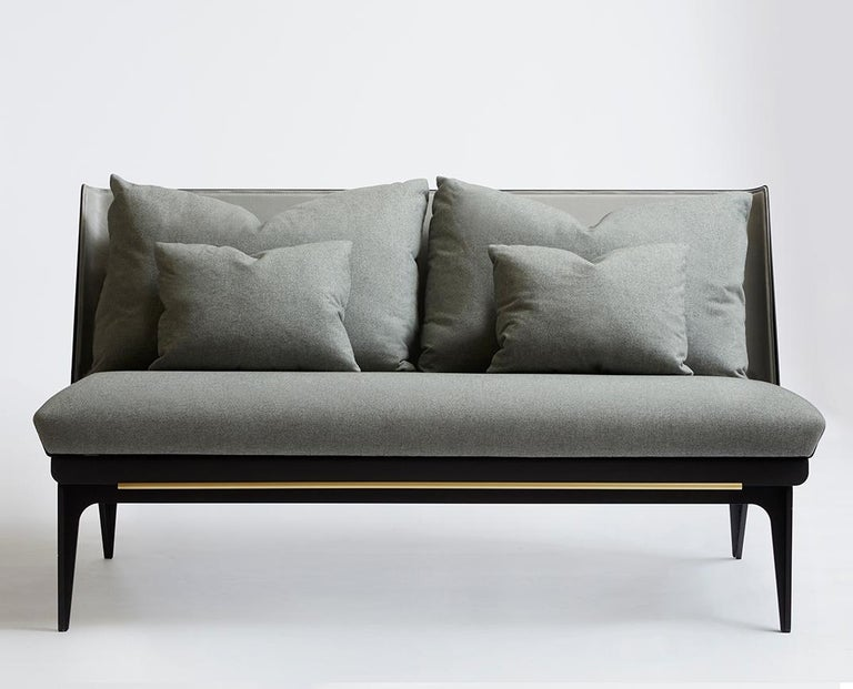 For Sale: Gray (Sophie-Gray) Boudoir Loveseat with Leather Back and Satin Brass Hardware by Gabriel Scott 2