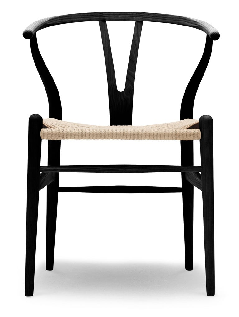 For Sale: Black (Ash Paintedblack S9000N) CH24 Wishbone Chair in Wood Finishes with Natural Papercord Seat by Hans Wegner