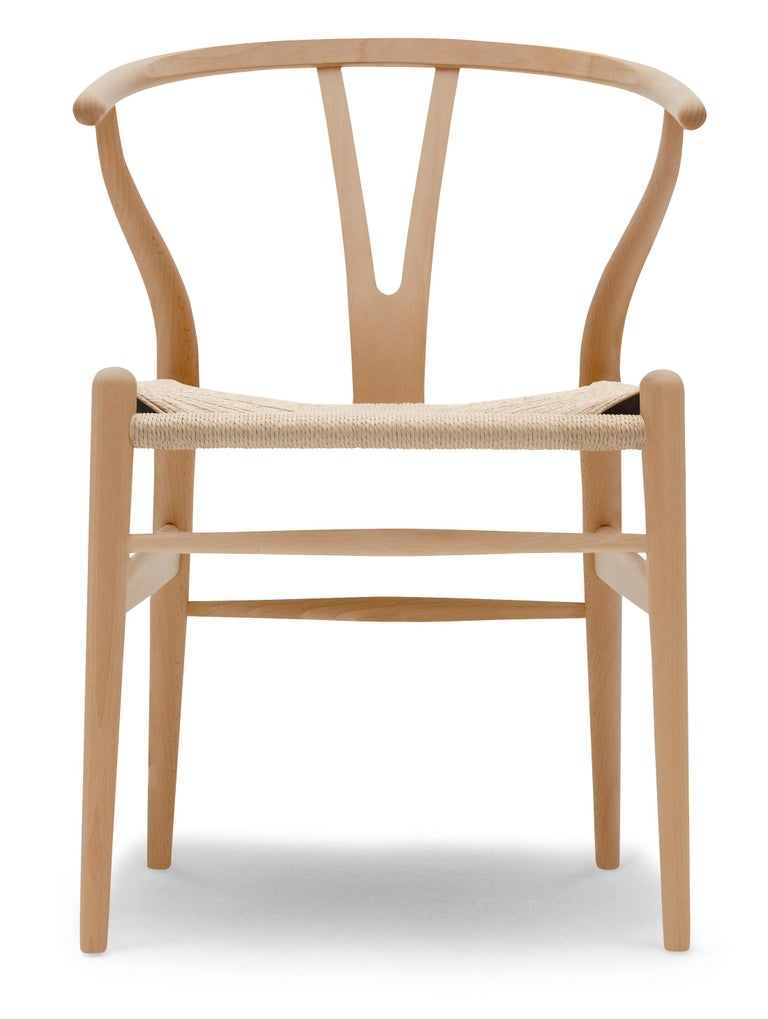 For Sale: Brown (Beech Lacquer) CH24 Wishbone Chair in Wood Finishes with Natural Papercord Seat by Hans Wegner