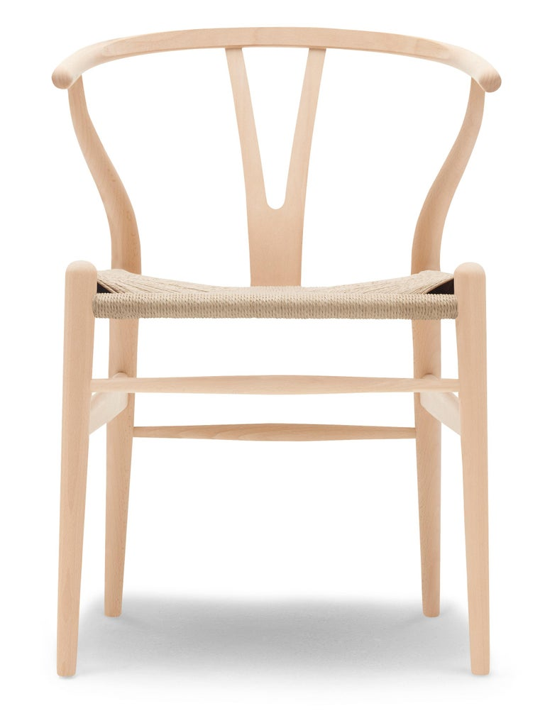 For Sale: Beige (Beech Soap) CH24 Wishbone Chair in Wood Finishes with Natural Papercord Seat by Hans Wegner