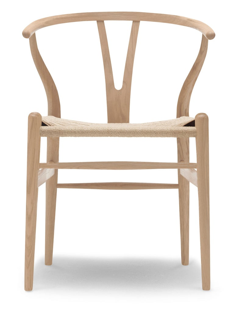 For Sale: Beige (Oak White Oil) CH24 Wishbone Chair in Wood Finishes with Natural Papercord Seat by Hans Wegner