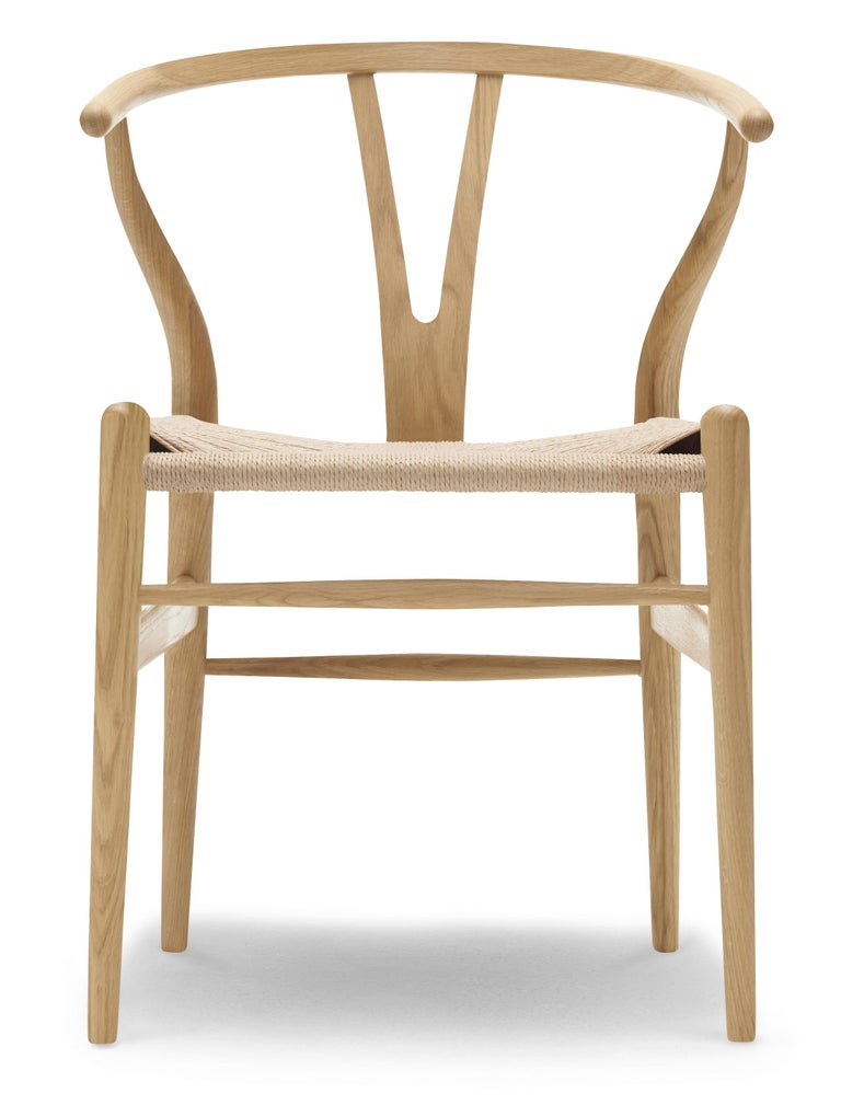 For Sale: Brown (Oak Lacquer) CH24 Wishbone Chair in Wood Finishes with Natural Papercord Seat by Hans Wegner