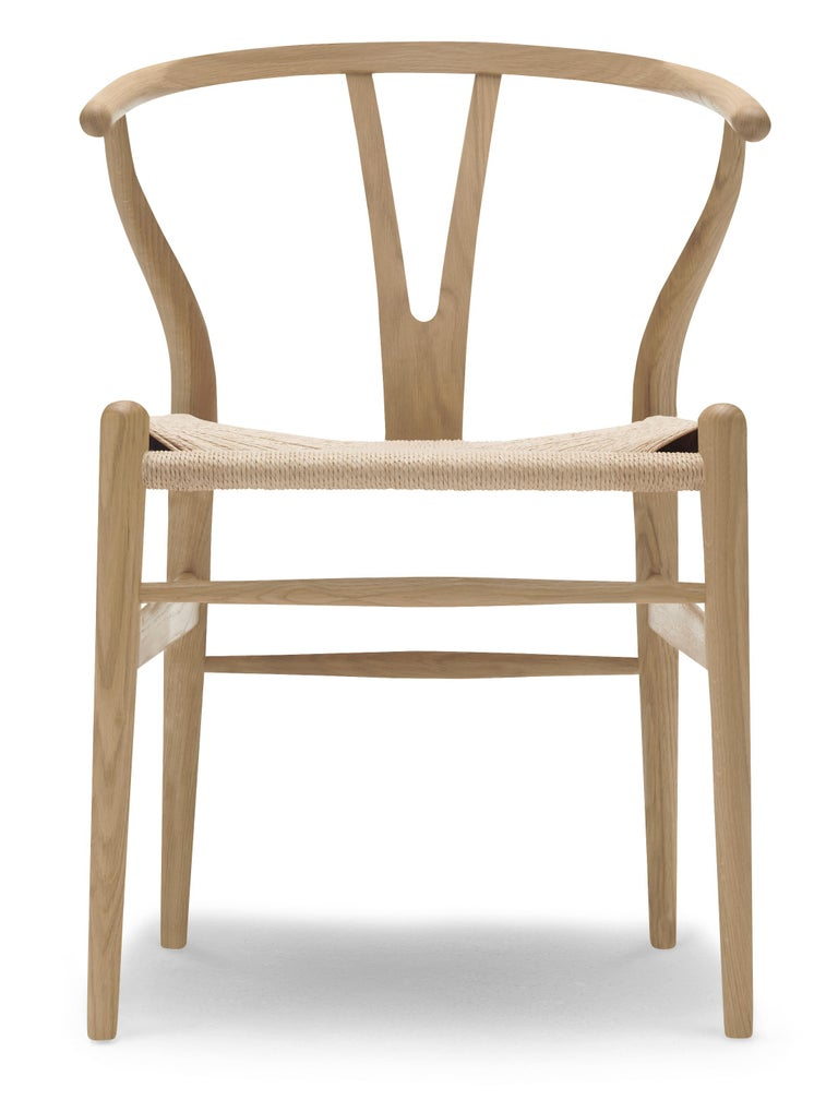 For Sale: Brown (Oak Soap) CH24 Wishbone Chair in Wood Finishes with Natural Papercord Seat by Hans Wegner