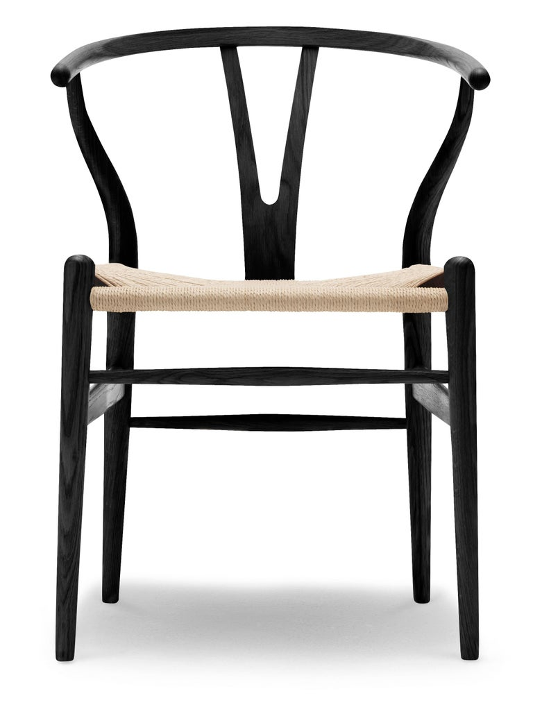 For Sale: Black (Oak Painted blacks9000-N) CH24 Wishbone Chair in Wood Finishes with Natural Papercord Seat by Hans Wegner