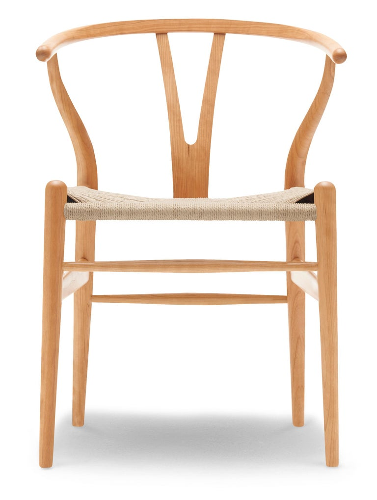 For Sale: Brown (Cherry Oil) CH24 Wishbone Chair in Wood Finishes with Natural Papercord Seat by Hans Wegner