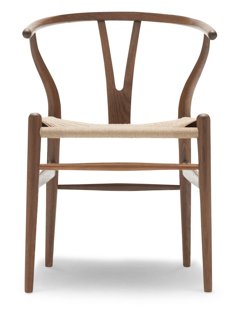 For Sale: Brown (Oak Smoked Oil) CH24 Wishbone Chair in Wood Finishes with Natural Papercord Seat by Hans Wegner
